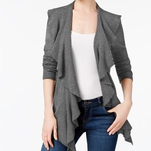 Karen Scott Gray Open Front Cardigan Top 3X 1X